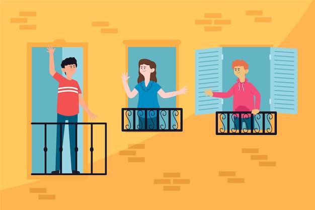 Vizinhos ilustrados conversando em varandas