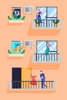 Vizinhos na ilustração de varanda