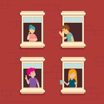 Vizinhos nas janelas em quarentena