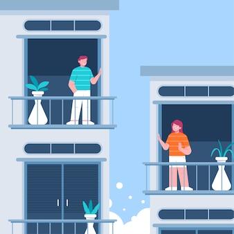 Vizinhos no conceito de quarentena de varandas