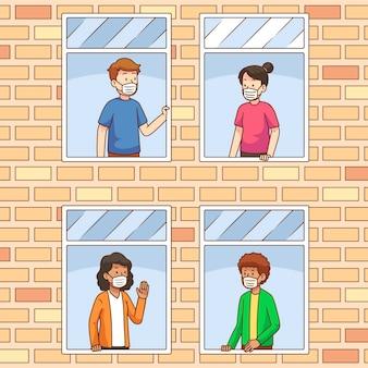 Vizinhos no conceito de varandas