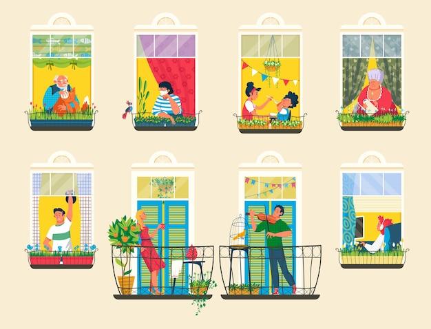 Vizinhos pessoas em ilustração de janelas de casa