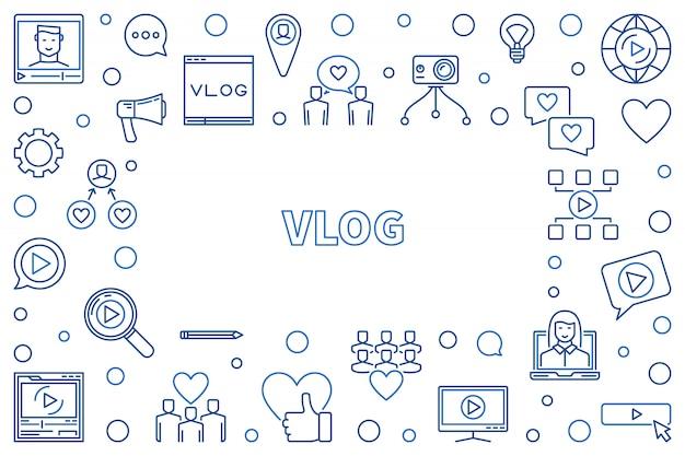 Vlog conceito linha fina moldura horizontal ilustração