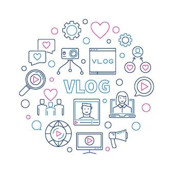 Vlog redondo ilustração linear criativa