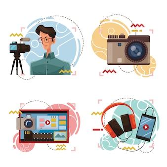 Vlogger masculino com ilustração do pacote de equipamentos