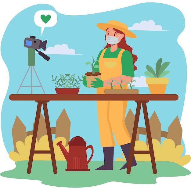 Vlogger mulher está fazendo um vlog sobre como jardinagem em casa