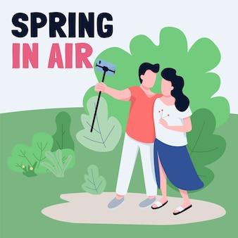 Vloggers nas redes sociais do parque postam maquete. primavera na frase de ar. modelo de design de banner da web. impulsionador do estilo de vida dos influenciadores, layout de conteúdo com inscrição.