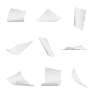 Voando, caindo conjunto de vetor de folhas de papel branco de escritório