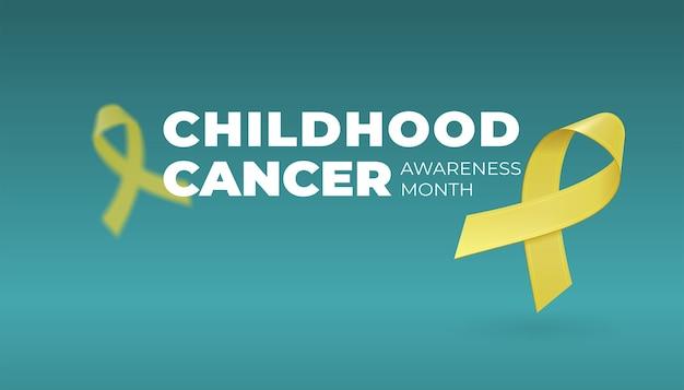 Voando fitas amarelas realistas sobre fundo escuro com espaço de cópia. símbolo de conscientização do câncer infantil em setembro.