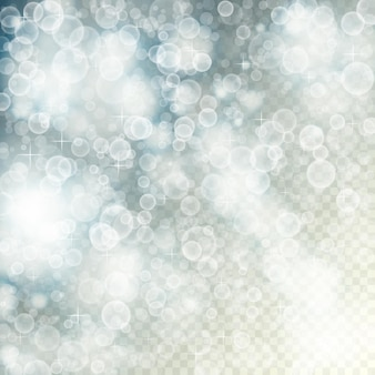 Voando fora da luz de foco com bokeh e estrelas no fundo transparente turva. eps10 de ilustração vetorial desfocado