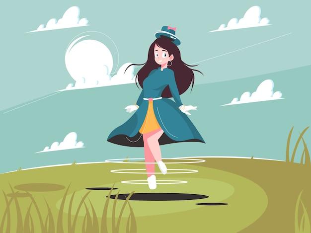 Voando linda bruxa bonita. garota com fantasia de halloween voa ilustração