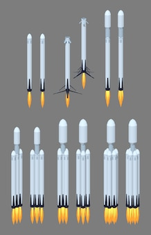 Voando moderno 3d lowpoly foguete espacial isométrica