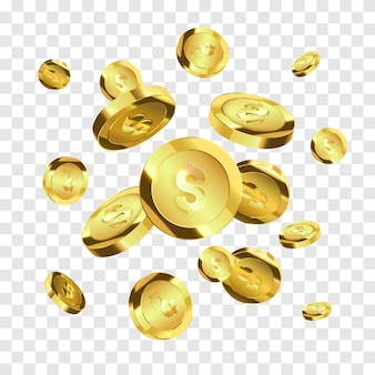 Voando moedas de ouro isoladas. dinheiro de vetor