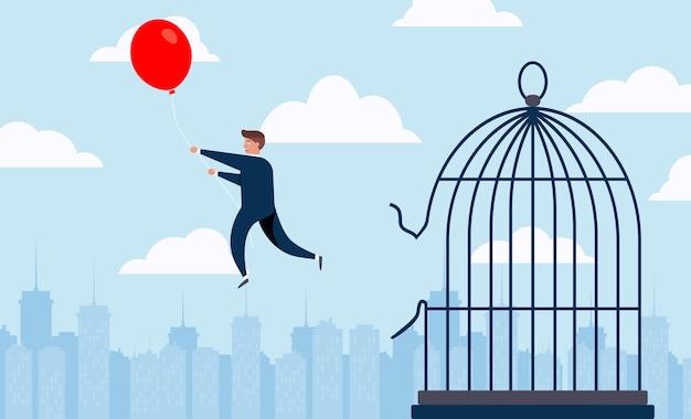 Voando na bola. escapar da jaula