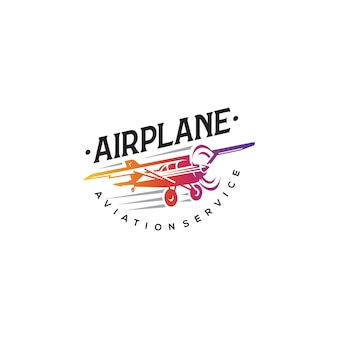 Voando no logotipo do avião, etiquetas e elementos do emblema
