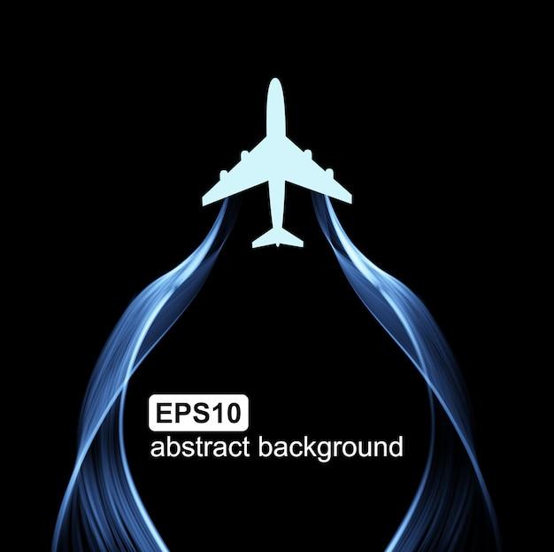 Voando o avião e onda de fumaça.