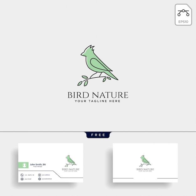 Voando o logotipo de arte de linha de pássaro cantarolando