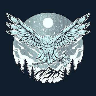 Voar de coruja com mão de floresta de montanha chave desenho ilustração vintage