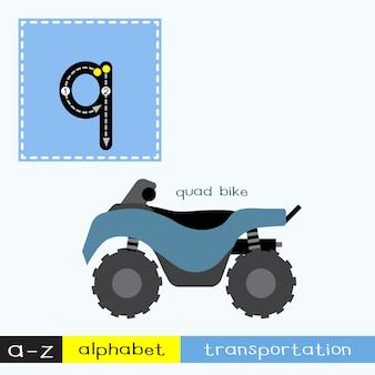 Vocabulário de transporte de letras minúsculas da letra q