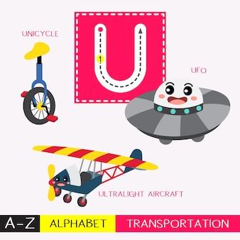 Vocabulário dos transportes de traçado em letra maiúscula u