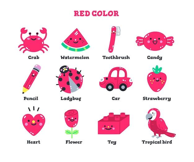 Vocabulário vermelho definido em inglês para crianças do jardim de infância