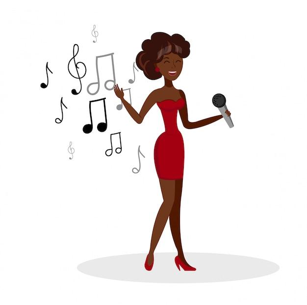 Vocalista de cartoon feminino cantando com microfone