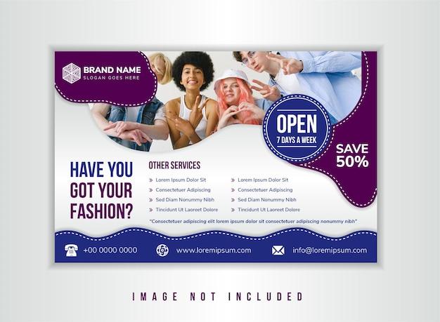 Você conseguiu o título de moda do modelo de design de folheto, use o gradiente cinza do layout horizontal