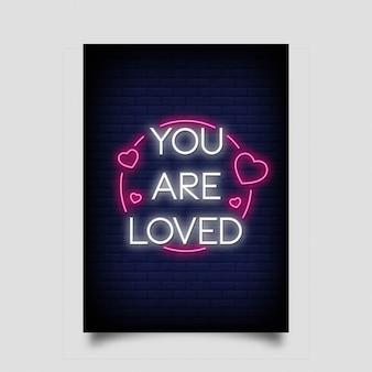 Você é amado lettering em estilo de néon.