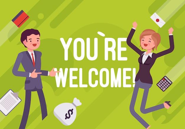 Você é bem vindo. ilustração de motivação empresarial
