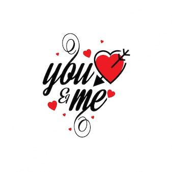 Você e eu com corações de vermelho elegante