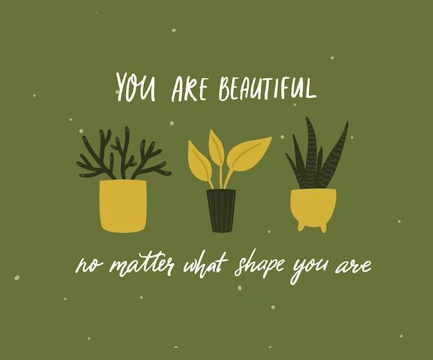 Você é linda, não importa o tamanho do seu corpo. citação positiva do corpo, ditado inspirador