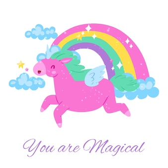 Você é mágico, inscrição em brilhante, bonito, imagens, feliz unicórnio rosa, ilustração, em branco. cartaz de fantasia colorida, decoração do quarto do bebê, arco-íris com nuvens.