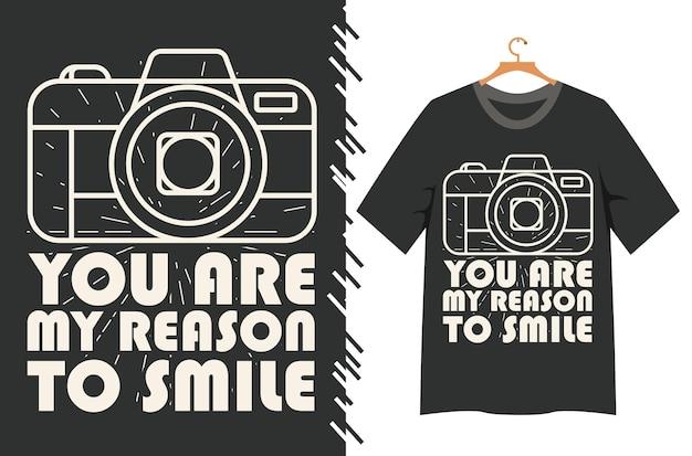 Você é minha razão para sorrir tipografia para design de camisetas