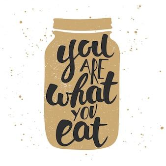Você é o que você come, caligrafia moderna escova de tinta