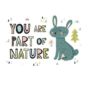 Você é parte da natureza mão desenhada lettering