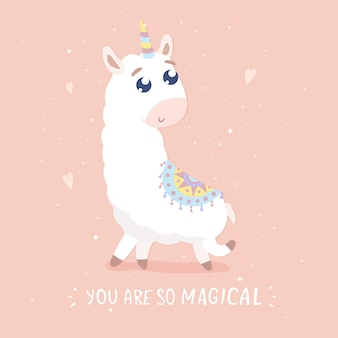 Você é um cartão tão mágico ilustração de lhama bonito dos desenhos animados