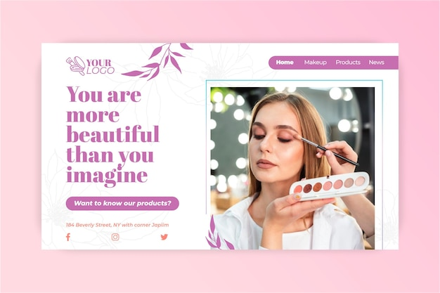 Você é um lindo modelo de cosmético de página de destino