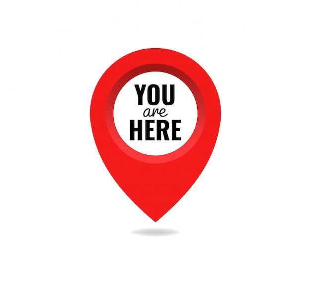 Você está aqui ícone sinal marca localização ponteiro pino. conceito de ponto de destino. pino posição marcador design ilustração