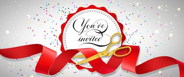 Você está convidado banner festivo com confete, texto no círculo branco e tesoura de ouro