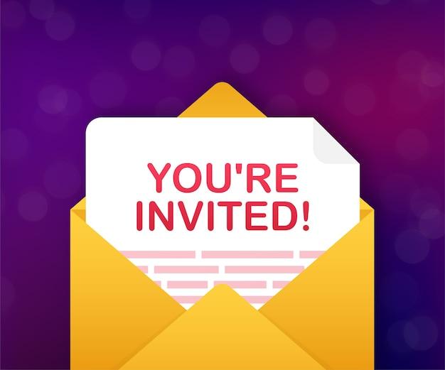 Você está convidado, cartão de convite dentro de uma carta envelope