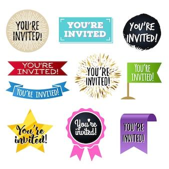 Você está convidado, emblemas definidos.