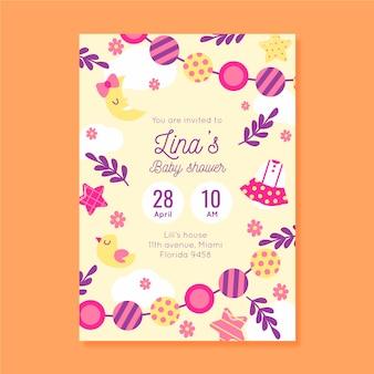 Você está convidado para o chá de bebê para menina com doces