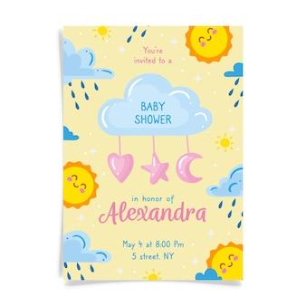 Você está convidado para o chá de bebê para menina com sol e nuvens