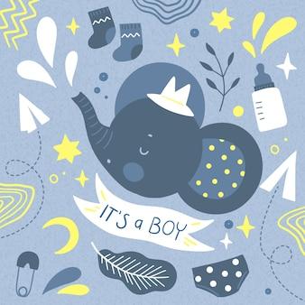 Você está convidado para o chá de bebê para menino e elefante com chapéu