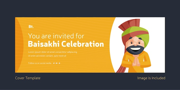 Você está convidado para o design da capa do facebook da celebração do baisakhi