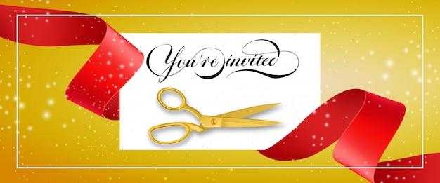 Você está convidando banner brilhante com moldura, texto em cartão branco, tesoura de ouro