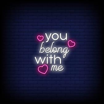 Você pertence a mim estilo de sinais de néon