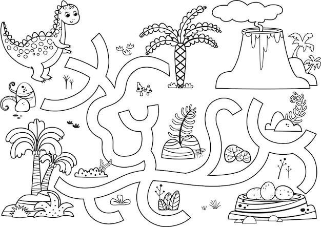 Você pode ajudar o dinossauro a encontrar o jogo de ilustração vetorial de ovos com tema de dinossauro