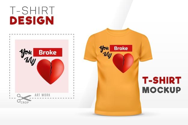 Você quebrou meu projeto de modelo de vetor de t-shirt de coração