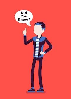 Você sabia anúncio masculino, balão de fala